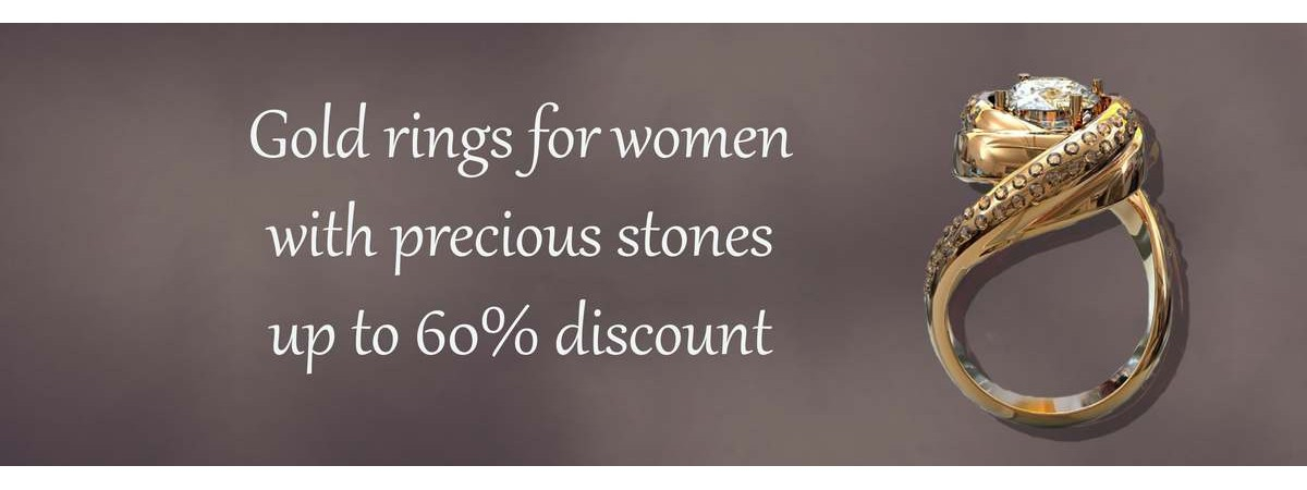 Gold rings for women with precious stones