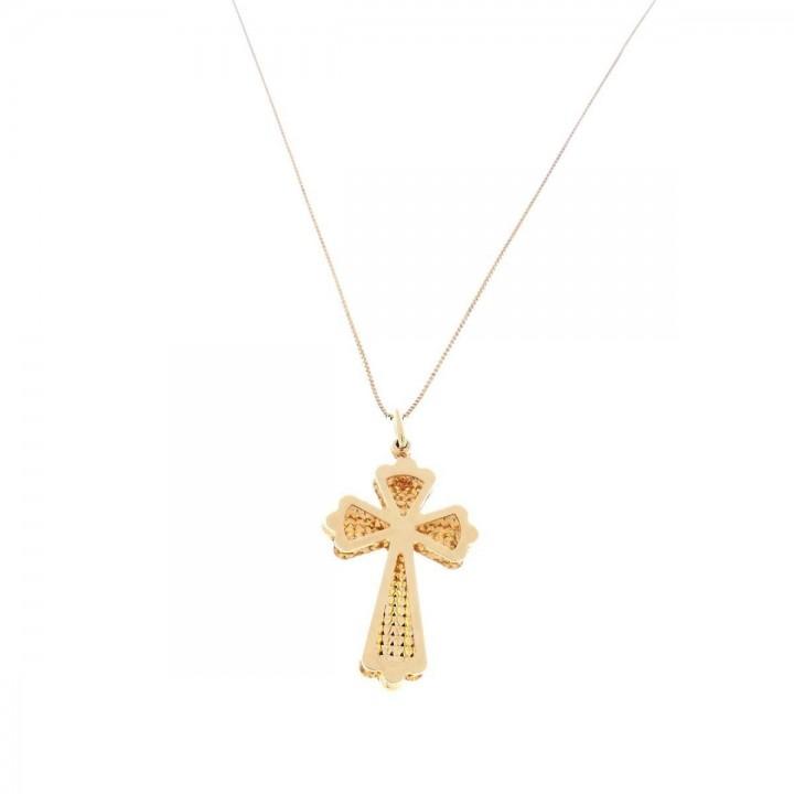 Кулон - Христианский крест, желтое золото