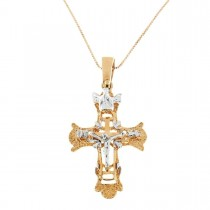 Gold pendant - cross, yellow and white gold