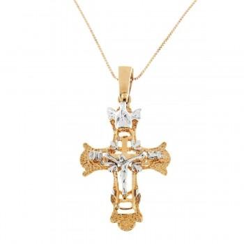 Золотая подвеска - крест, желтое и белое золото