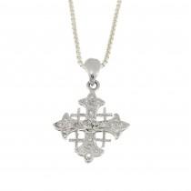 Золотой кулон - Иерусалимский крест, белое золото 14 карат с бриллиантами
