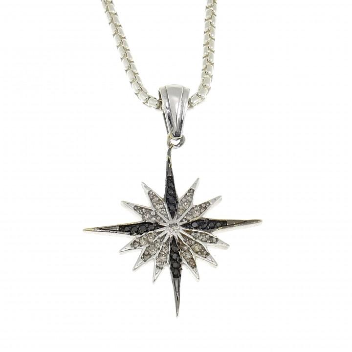 Золотой кулон - Вифлеемская звезда, белое золото 14 карат с бриллиантами