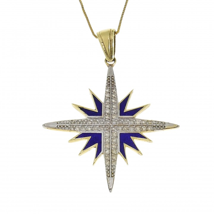 Золотой кулон - Вифлеемская звезда, желтое золото 14 карат с бриллиантами