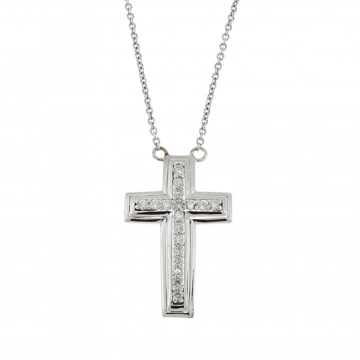 Золотой кулон - христианский крест, белое золото 14 карат с бриллиантами