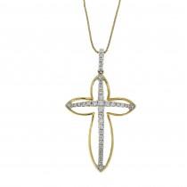 Gold pendant - Christian cross, 14K yellow gold with diamonds
