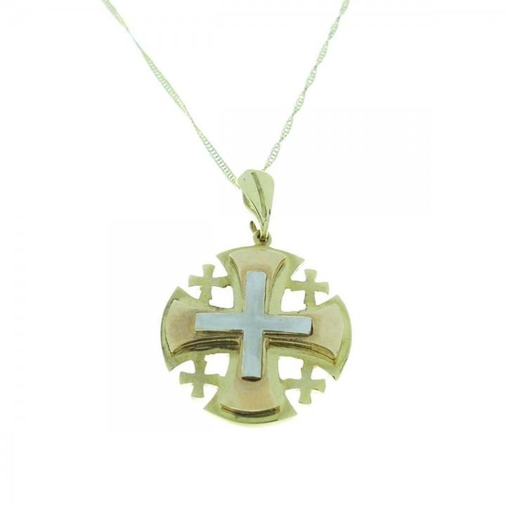 Кулон - Иерусалимский крест, желтое, белое, красное золото