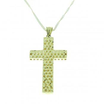 Кулон - католический крест, желтое золото