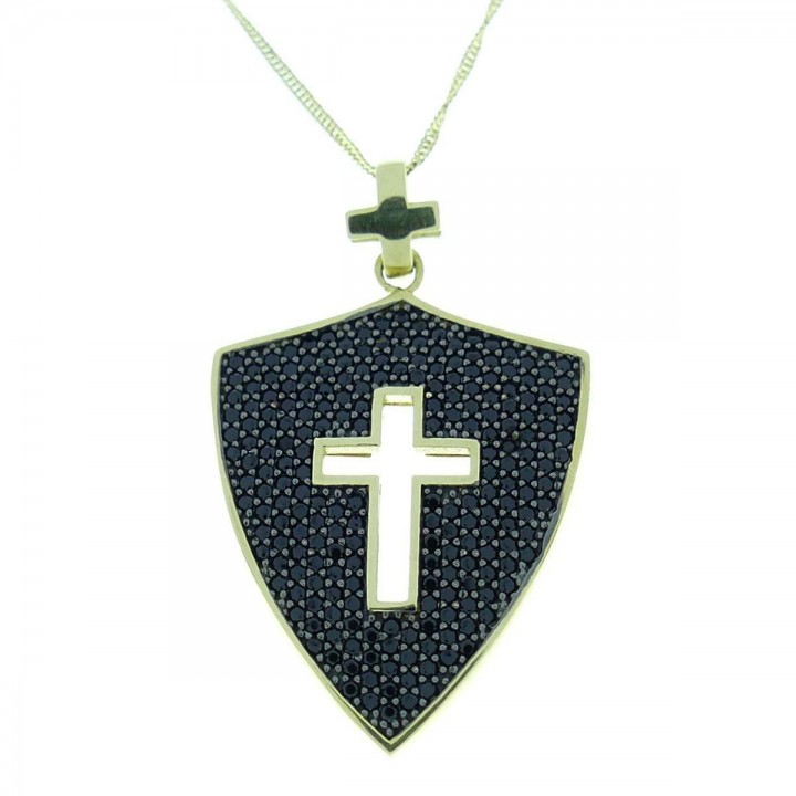 Pendant - Catholic cross, yellow gold and zircon