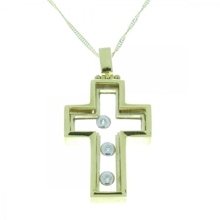 Pendant - Catholic cross, yellow and white gold, zirconium