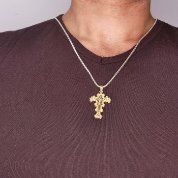 Christian cross pendant, 14k red gold