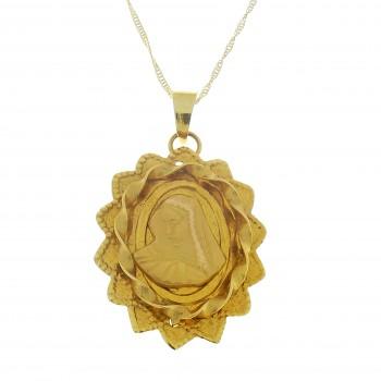 Золотой кулон - Богородица, желтое золото 14 карат