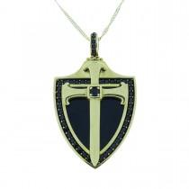 Pendant - Catholic cross, yellow gold and zircon