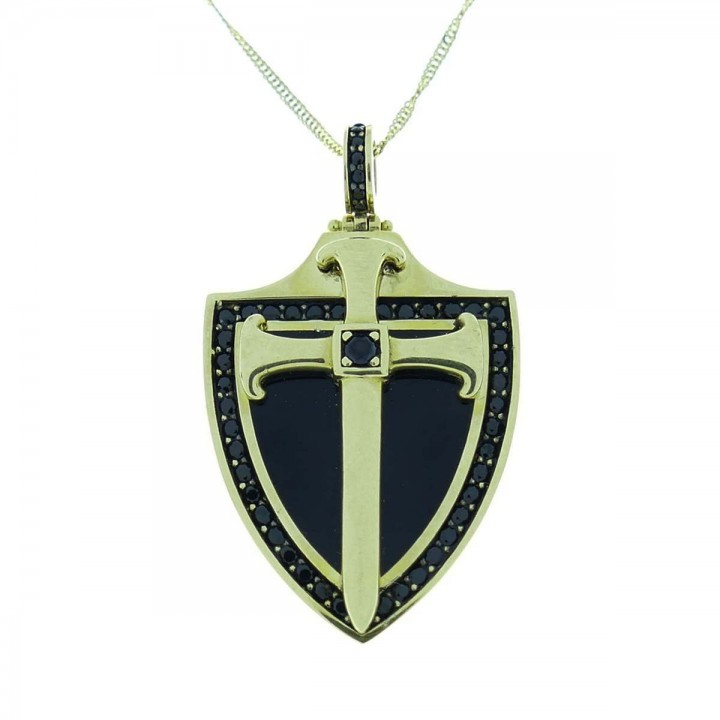 Кулон - католический крест, желтое золото и цирконий
