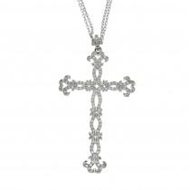Gold pendant - Christian cross, 14K white gold with diamonds