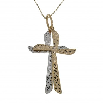 Christian cross pendant, 14k red and white gold