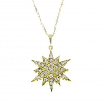 Золотой кулон - Вифлеемская звезда, желтое золото 14 карат с цирконием
