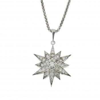 Золотой кулон - Вифлеемская звезда, белое золото 14 карат с цирконием