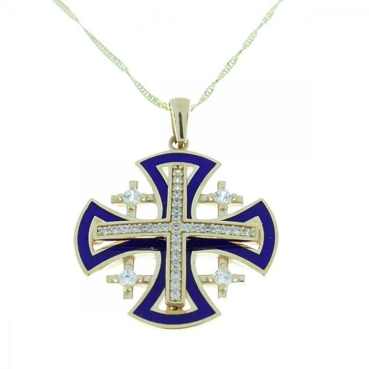 Pendant - Jerusalem cross, yellow gold and zircon