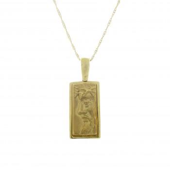 Золотой кулон - Иисус, желтое золото 14 карат