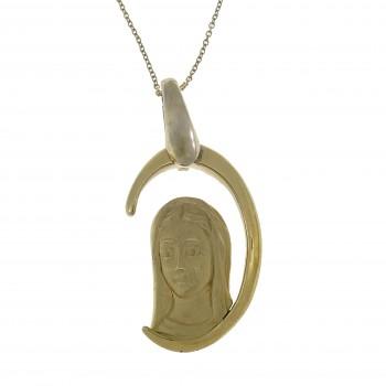 Золотой кулон - Мария Магдалена, желтое золото 14 карат