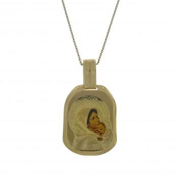 Золотой кулон - Богородица с младенцем, жёлтое золото 14 карат