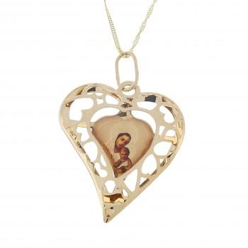 Золотой кулон - Богородица с младенцем, красное золото 14 карат
