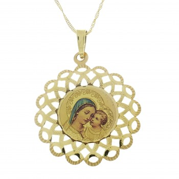 Золотой кулон - Богородица с младенцем, желтое золото 14 карат