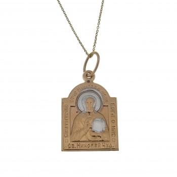 Золотой кулон - святой Николай, красное золото 14 карат