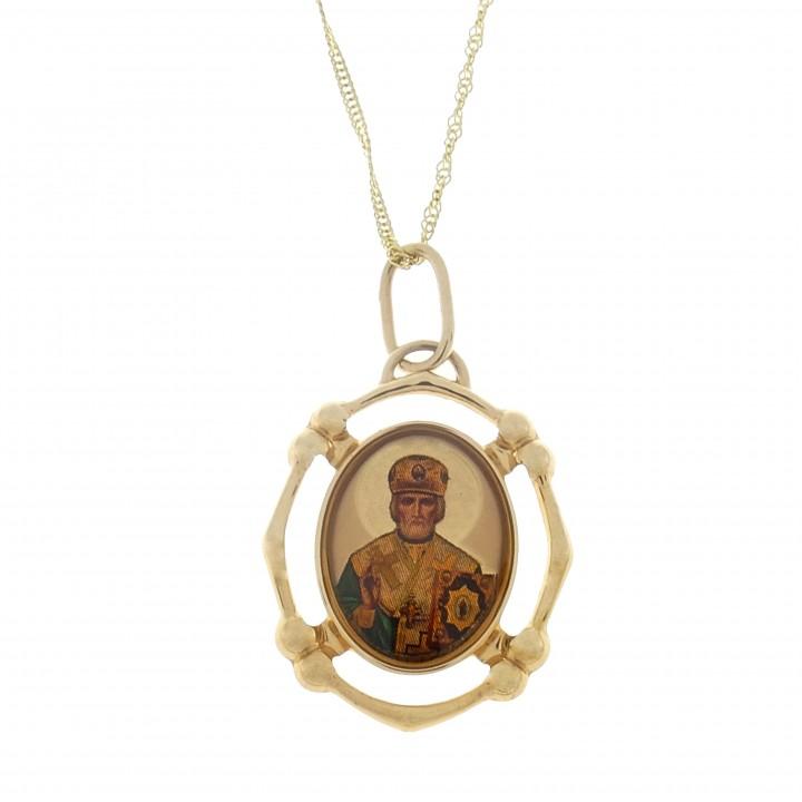 золотой кулон Николай чудотворец