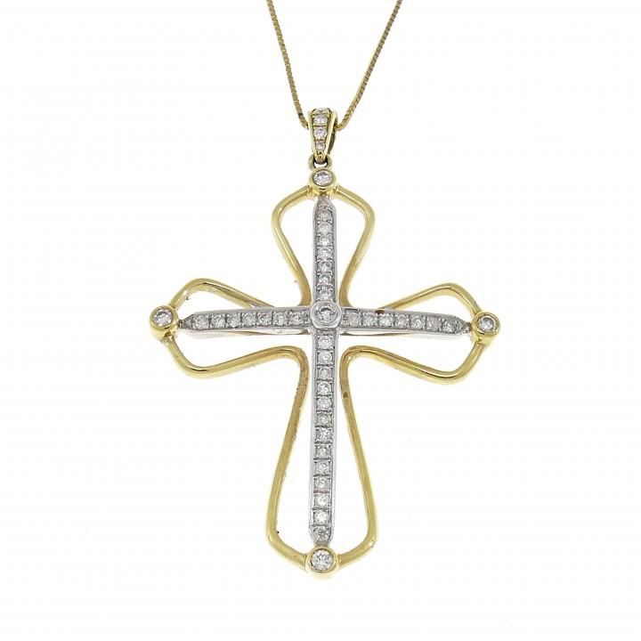 Золотой кулон - христианский крест, желтое золото 14 карат с бриллиантами
