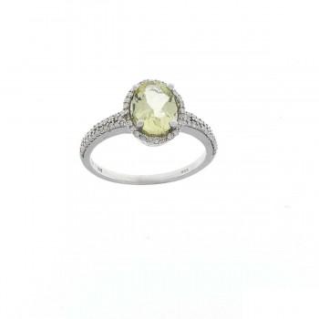 Кольцо для женщины белое золото 14 карат с бриллиантами и кварцем