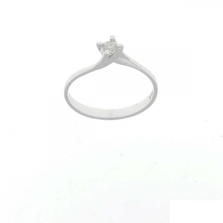 Кольцо для обручения, белое золото с бриллиантом