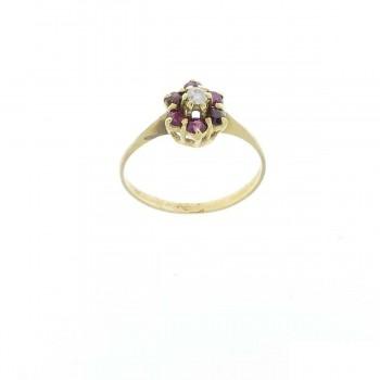 Кольцо для женщины желтое золото 14 карат с бриллиантами и гранатом