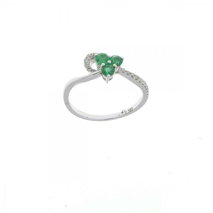 טבעת אירוסין, זהב לבן עם יהלומים ואבני אמרלד