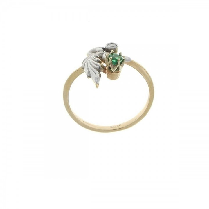Engagement ring, white and yellow gold with diamonds and emerald