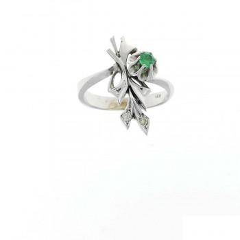 Кольцо для женщины белое золото 14 карат с бриллиантами и изумрудом