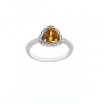 Кольцо для женщины белое золото 14 карат с бриллиантами и цитрином