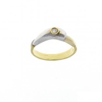 Кольцо для обручения, желтое и белое золото с бриллиантом