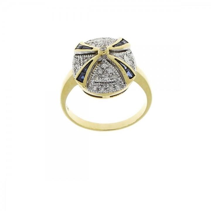 Кольцо для обручения, желтое золото 14 карат, бриллианты и сапфир