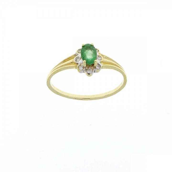 Engagement ring, yellow gold with diamond and emerald