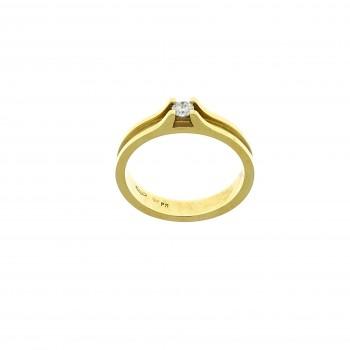 Кольцо для обручения, желтое золото 14 карат с бриллиантом