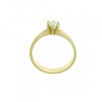 Кольцо для обручения, желтое золото 14 карат с белым бриллиантом