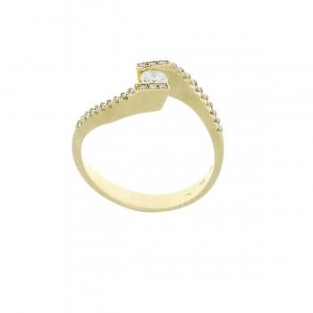 Кольцо для женщины желтое золото 14 карат с бриллиантами