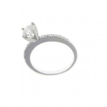 Engagement ring, white gold with white diamonds
