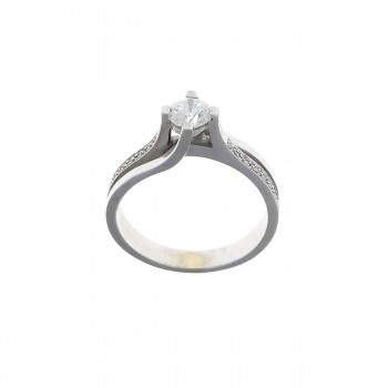 White Diamond Engagement Ring, 14ct White Gold