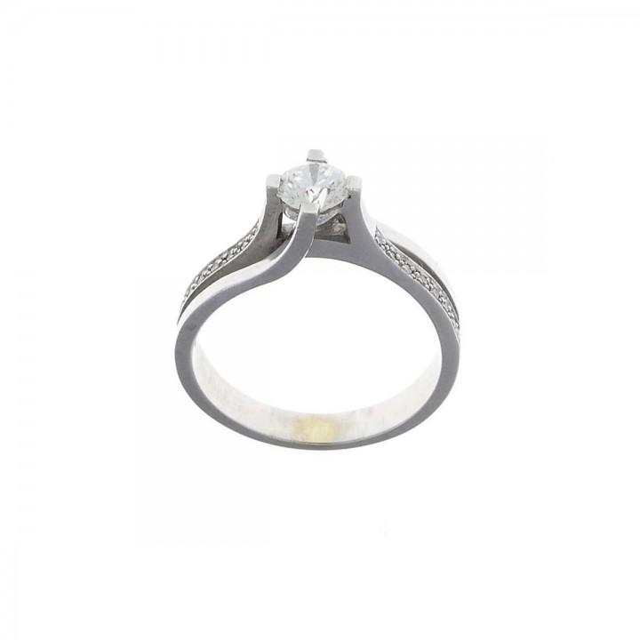 Кольцо для обручения с бриллиантами, белое золото 14 карат