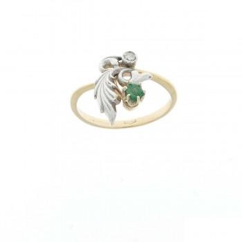 Кольцо для женщины белое и жёлтое золото 14 карат с бриллиантами и изумрудами