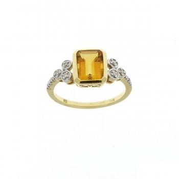 Кольцо для женщины желтое золото 14 карат с бриллиантами и цитрином