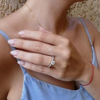 Кольцо для обручения, белое золото с белыми бриллиантами