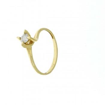 Кольцо для обручения, желтое золото с бриллиантом